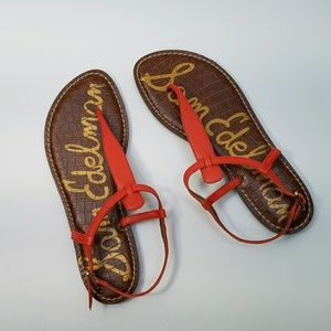 Sam Edelman Leather Sandals Orange Size 8 NEW